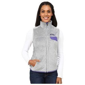 Patagonia Re-Tool Gray  Purple Fleece Vest Jacket